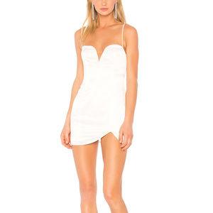 NBD White Satin GWENDOLYN Mini Dress SMALL NWT